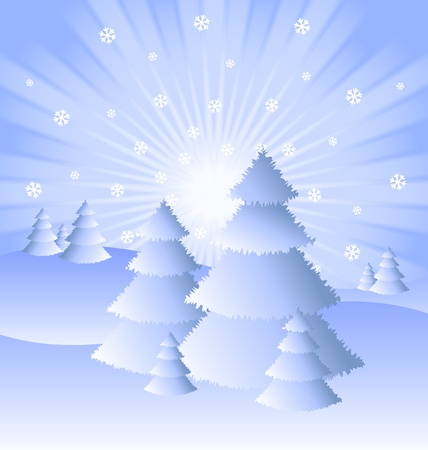 Snowy winter scenery with trees, snowflakes and sunburst effect Vector