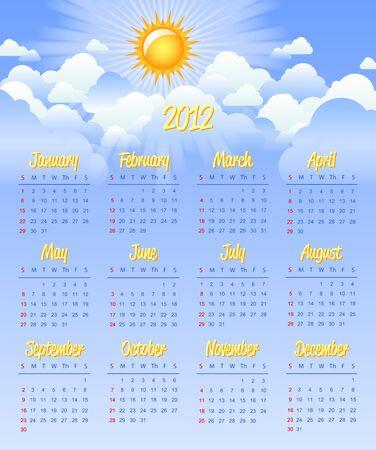 mon 12: Cloudy calendar template for 2012 year