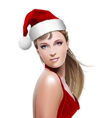 santa helper: Santa Girl with Santa hat isolated on white background Illustration