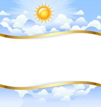 Bewolkte dag sjabloon met kopie ruimte voor uw eigen tekst Stock Illustratie