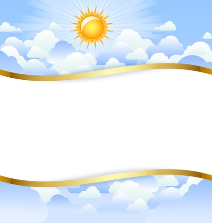 title: Cloudy day template with copy space for your custom text Illustration