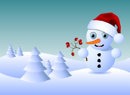 Cute little snowman with rosehips and copy space for your text Vector