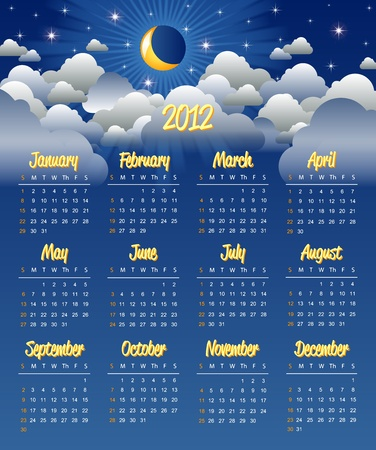mon 12: Cloudy night calendar template for 2012 year