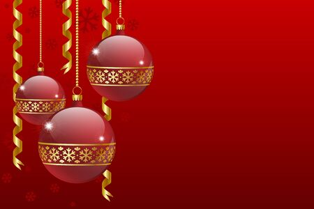 Christmas balls decoration with snowflakes and ribbons Vector