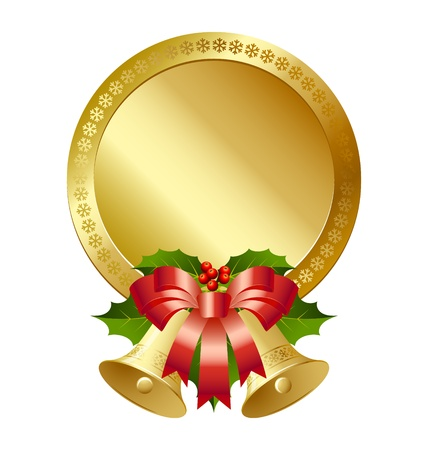 Christmas plaque with bells, holly and ribbon decoration Stock Vector - 11294442