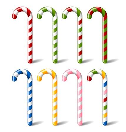 Kleurrijk, gestreepte snoep stokken geïsoleerd op witte achtergrond Stock Illustratie
