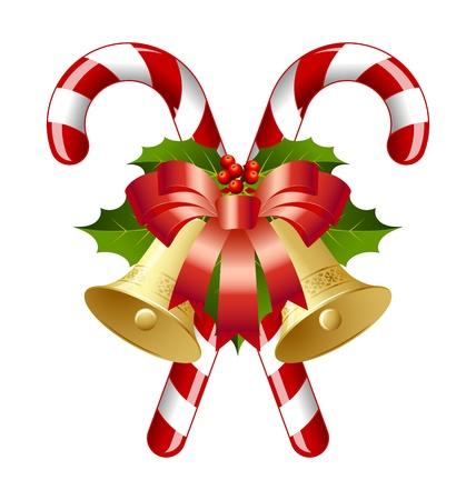 campanas: Bastones de caramelo decorado con campanas, el acebo y la cinta