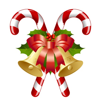 Candy canes decorated with bells, holly and ribbon Vector