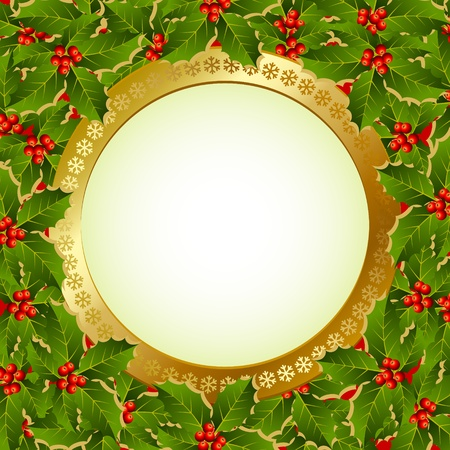 Christmas plaque on holly background