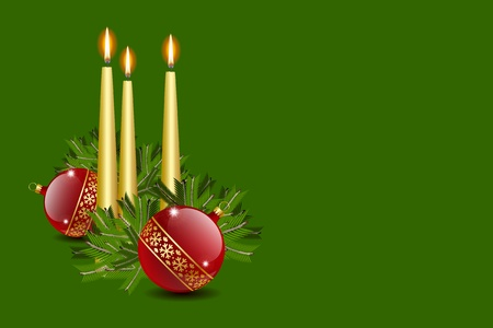 Candles and balls decoration with copyspace Vector