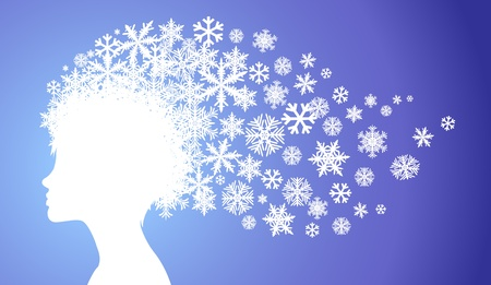 Young lady silhouette with hair made of snowflakes Vector