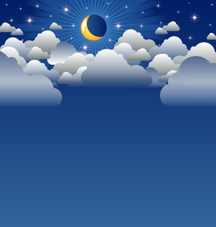 Calm moon and clouds scenery with copyspace