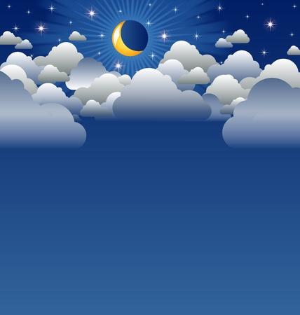 Luna calma y el paisaje con nubes copyspace