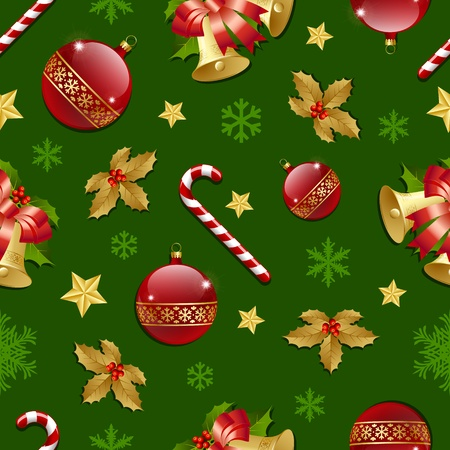 Seamless Christmas pattern on green background Vector