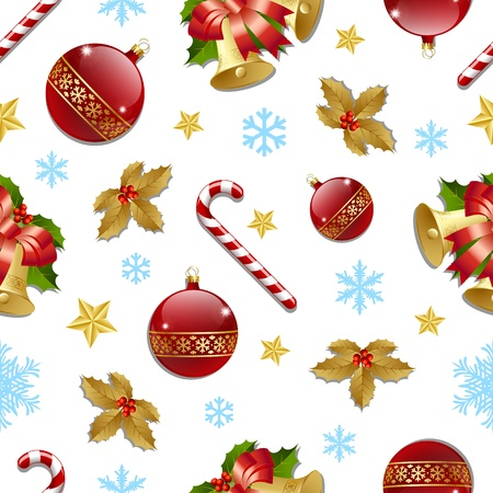 Seamless Christmas pattern on white background Vector