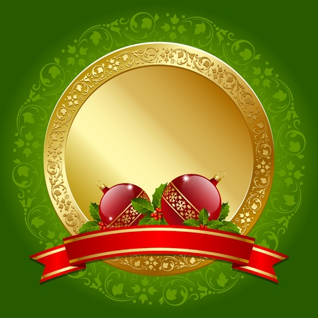 Golden Christmas plaque with balls, holly and ribbon decoration Vector