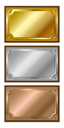 platin: Reihe von dekorativen, gl�nzend, metallic, goldenen, silbernen und bronzenen Plaketten Illustration
