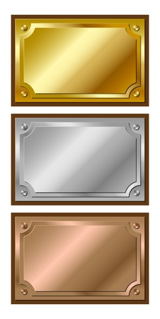 Set of decorative, shiny, metallic, golden, silver and bronze plaques