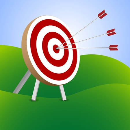 Red and white target with arrows Vector