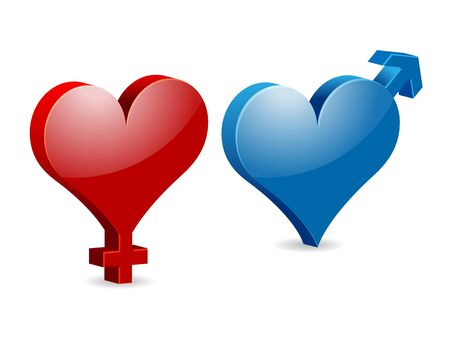 afrodita: Símbolos femeninos y masculinos Venus y Marte en forma de corazón de San Valentín Vectores