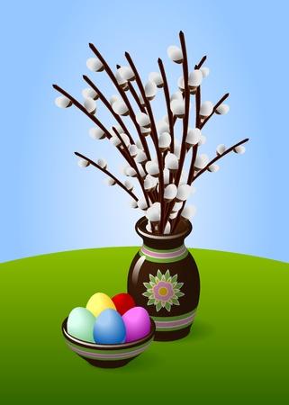 Brindilles chatons de saule dans un vase avec Brown Oeufs de Pâques