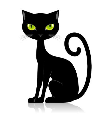 검은 고양이 흰 배경에 고립