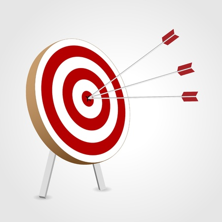 Red and white target with arrows isolated Illustration