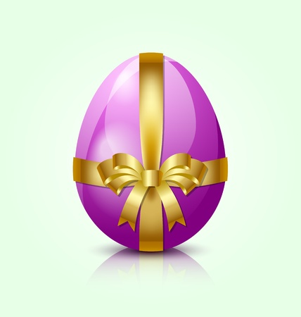 Purple Easter egg with golden ribbon