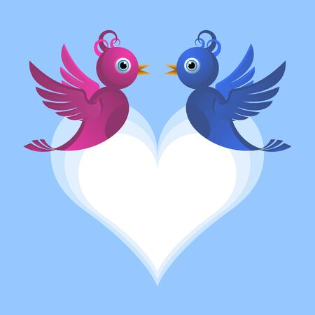 Two cute bird lovers Vector