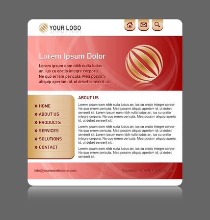 Easy customizable red and gold website template layout