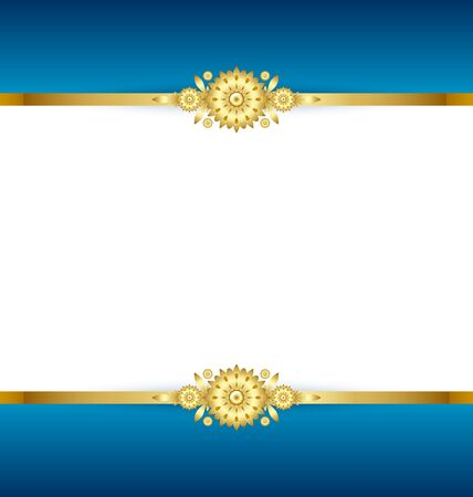 Document template with blue and golden floral background Stock Vector - 11660631