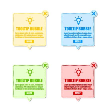 Tooltip design elements with lightbulb and closing cross Ilustração