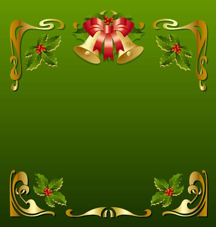 Christmas vintage frame in secession style Vector