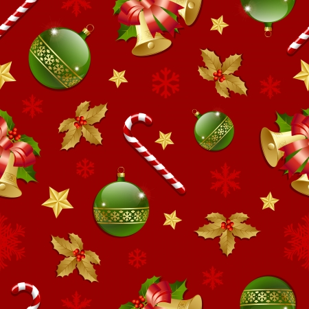 Seamless Christmas pattern on red background Vector