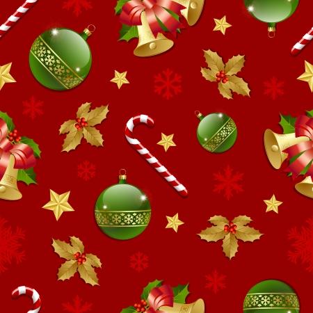 caramelos navidad: Seamless patr�n de Navidad sobre fondo rojo Vectores