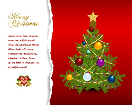 Christmas tree with star, chains and balls Vector