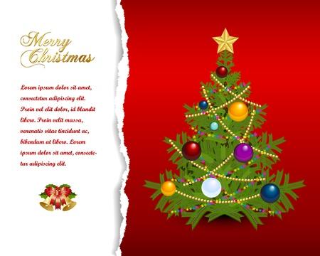 Christmas tree with star, chains and balls Ilustração
