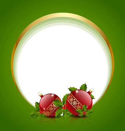 Christmas balls decoration wih holly and copy space Vector