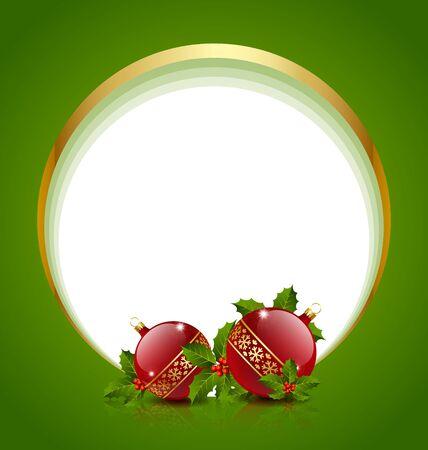 Boules de Noël décoration wih houx et l'espace de copie