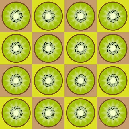 Colorful seamless retro pattern with kiwi fruit theme photo