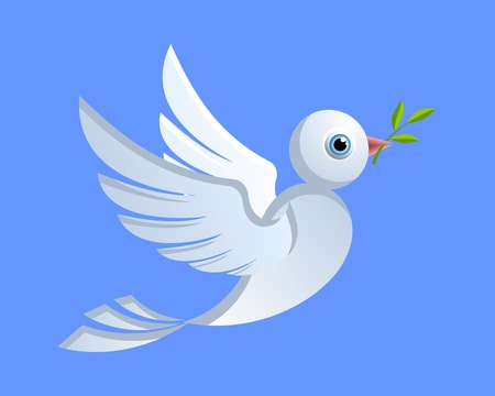 solidarity: Flying dove of peace with green twig
