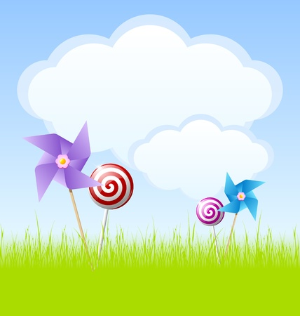 pinwheel: Idyllic cloudy spring scene with pinwheels, lollipops and copy space for your custom text