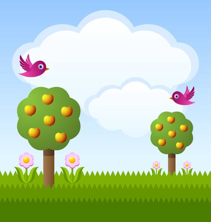 Idyllic fruit garden with trees, flowers, birds and clouds Vector