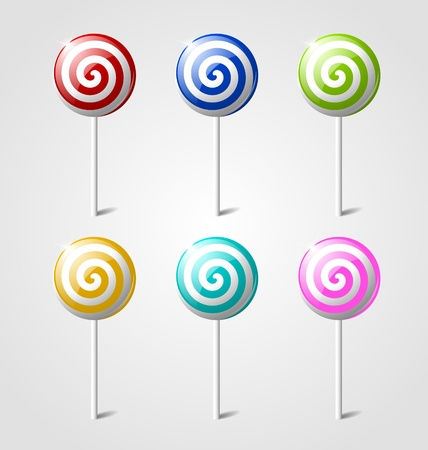 piruleta: Juego de paletas dulces brillantes sobre fondo gris claro