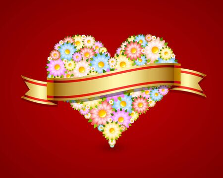 Floral heart made of flowers with ribbon isolated on red background Vector