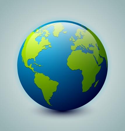 Glossy Earth-pictogram geïsoleerd op achtergrond Stock Illustratie
