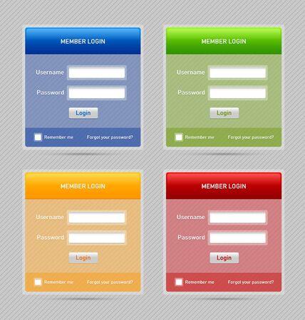 Gemakkelijk aanpasbare semi-lid login website elementen Stock Illustratie