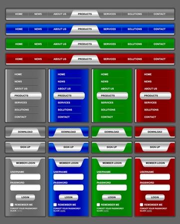 Horizontale en verticale navigatie menu en website-elementen met glanzend zilver effect Stock Illustratie