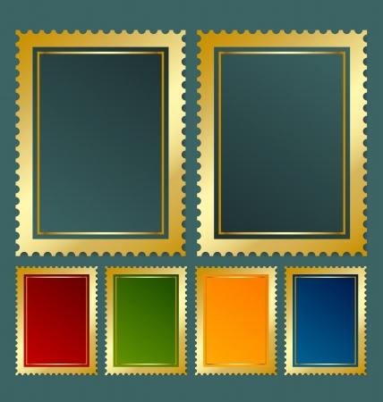 sello postal: Env�o plantilla de sello en diversas variaciones de color Vectores