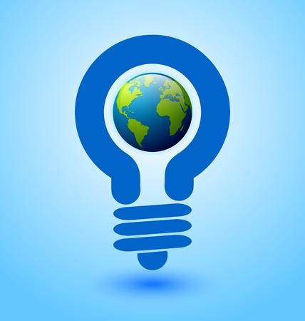 Ecologie en energie te besparen icoon met gloeilamp en de planeet Aarde Stock Illustratie